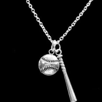 Baseball Bat Softball Sports Theme Allstar Mom Charm Necklace