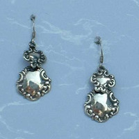 Wreath Shaped Dangle Earrings Sterling Silver Wires Vintage HolidayJewelry