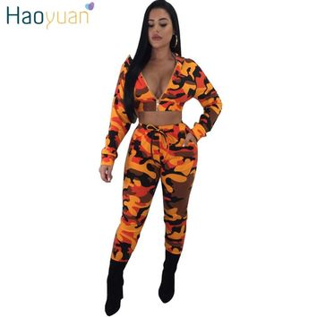 HAOYUAN Autumn Camouflage 2 Piece Set Women Long Sleeve Camo Print Hooded Tops And Pants Casual Outfits Suit Two Piece Tracksuit