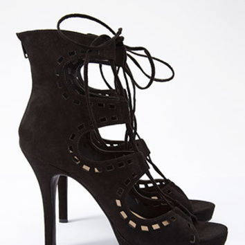 Faux Suede Lace-Up Cutout Pumps
