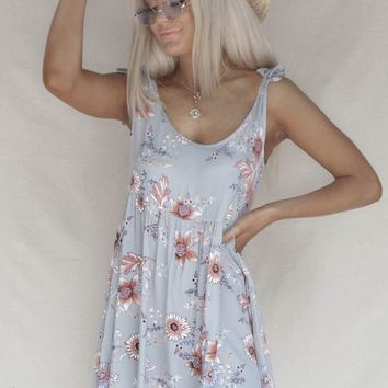Outside Feel Cool Gray Floral Mini Dress