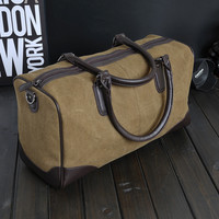 Vintage Mens Large Leather Canvas Crossbody Shoulder Bag