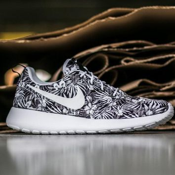 NIKE Roshe One Print Premium Women Men Casual Running Sport Shoes Sneakers Shoes leaf print gray white hook H