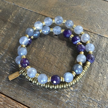 Healing' Faceted Cloudy Rock Crystal and Amethyst 27 Bead Wrist Mala Bracelet