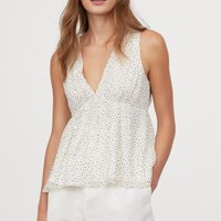 Crinkled Blouse - White/dotted - Ladies | H&M US