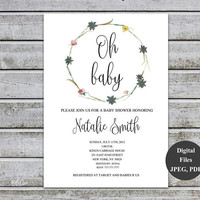Baby Shower Invitations, baby shower invites, Oh baby invite, gender neutral baby shower invites, printable baby shower invitations (v44)