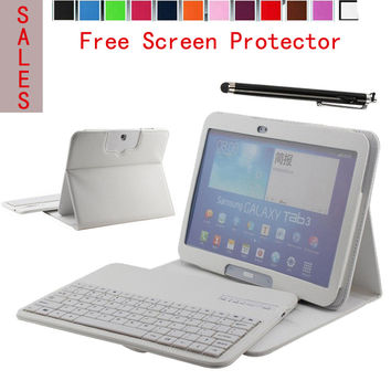 ABS DETACHABLE QWERTY Wireless Bluetooth Keyboard For Samsung Galaxy Tab 3 10.1 P5200 Tablet W/ Portfolio PU Leather Case Cover