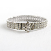 Antique Art Deco Silver Clear Rhinestone Bracelet - Vintage 1930s Belt Buckle Costume Jewelry