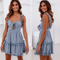 Women's Fashion Ruffle Spaghetti Strap Hot Sale Summer One Piece Dress [1298761875572]