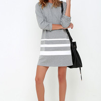 League of Legends Grey Striped Shift Dress