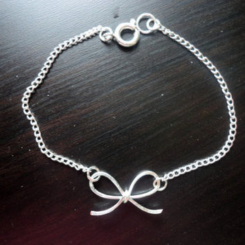 Delicate Silver Bow Chain Bracelet - Handmade Bow Charm