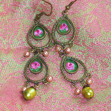 Pink Rose Boho Chic Romantic Chandelier Earrings Shabby Chic Hand Painted Floral