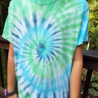 Tie Dye Swirl T-Shirt, Adult Small TieDye with Cool Colors, Blue and Green, Hippie Boho Apparel, Teen Gift, Retro TShirt, 60s Party Shirt