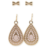 Aeropostale  Tear Drop & Bow Earring 2-Pack