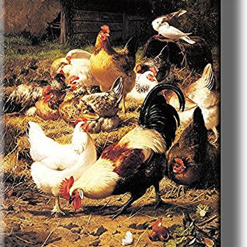 Animal Farm of Chickens Picture on Stretched Canvas, Wall Art Decor, Ready to Hang!