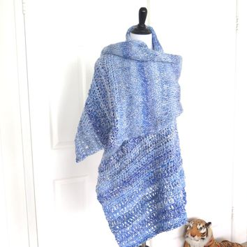 Light Blue Shawl, Extra Large Hand Knit Prayer Shawl