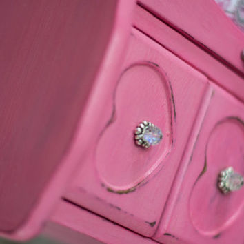 Jewelry Box,  Vintage Hot Pink, distessed with jeweled knobs