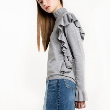 Mercer Grey Ruffled Sweater