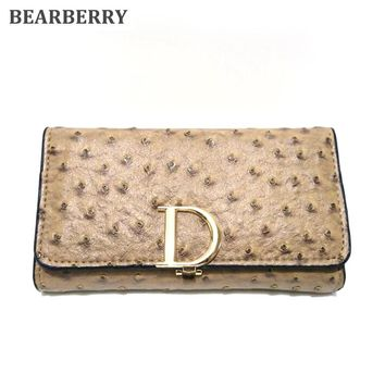BEARBERRY 2017 Women Wallets Brand High Quality Clutch Handbag Ostrich pattern D Letter Large Capacity Purse  Card Holder