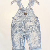 Upcycled Distressed and Bleached Overalls 12 months boys girls baby toddler painters trendy clothes kids destroyed denim cute hip hipster