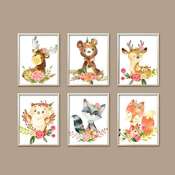 Watercolor WOODLAND Wall Art - Flower Wood Forest Animals - Baby Girl Nursery Artwork - Deer Bear Fox Owl - Canvas or Prints-Set of 6 Shower