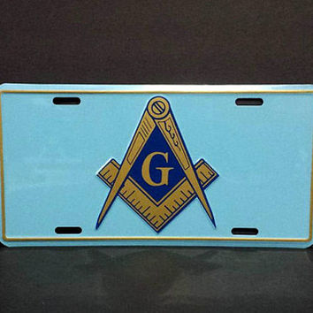 Freemasons Car License Plate Masonic Square and Compasses Vintage Man Cave Novelty Vanity Vehicle Accessories Metal Wall Sign Decor Hanging
