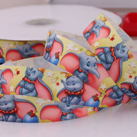 Cute Jumbo Elephant Printed Grosgrain Ribbon
