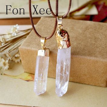 Fon Xee Natural Crystal Druzy Stone Geometric Pendants Good Luck Charm Jewelry Irregular Faith Hope Love Energy Necklace S002