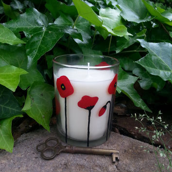 Fresh Cotton Candle, Hand Painted Candle, Red Flowers, Handpainted Poppies, Home Decor, Fragrance Candle