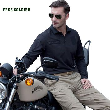 FREE SOLDIER  Outdoor sports Camping Hiking shirt with COOLMAX Fabrics Men's Tactical  Quick-drying Shirt/T-shirt cloth