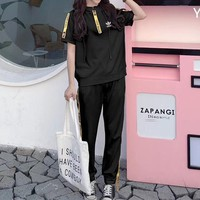 """Adidas"" Women Casual Fashion Multicolor Letter Webbing Short Sleeve Hooded Trousers Set Two-Piece Sportswear"