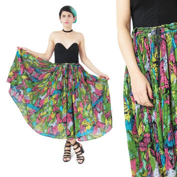 Vintage Indian Gauze Cotton Maxi Skirt Gypsy Hippie Boho Drawstring Waist Skirt Plus Size Broomstick Skirt Colorful Print African Skirt (XL)