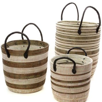 Set/3 Black Mixed Stripe Baskets with Leather Handles