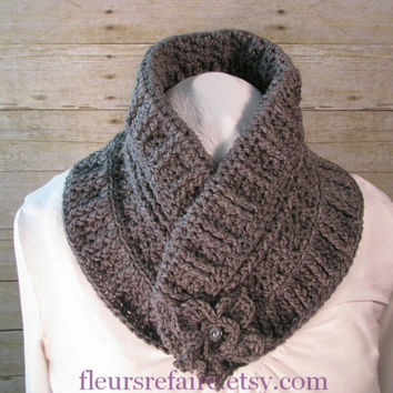 Soft grey crocheted cowl scarf wrap with flower button closure.