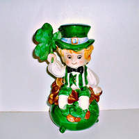 Lefton Figurine Leprechaun Pot of Gold Bank Vintage Shamrock Irish St. Patrick's Day  Elf Pixie Lucky Ceramic