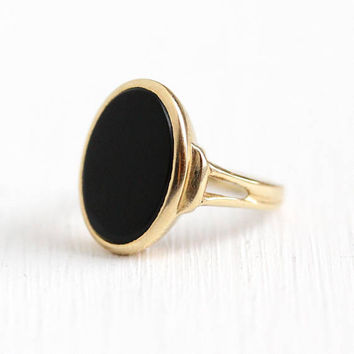 Vintage Onyx Ring - 14k Yellow Gold Black Onyx Gem - 1980s Size 3 3/4 Oval Dark Gemstone Dated 1986 Fine Jewelry Signed B&F Baden and Foss