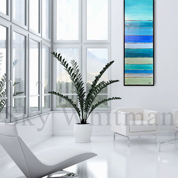 Original Painting Framed Textured Aqua and Blue Layered Abstract High Gloss Modern Contemporary Art 13x37 by Sky Whitman