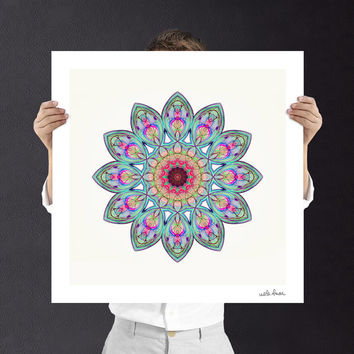 Pink and Blue Mandala Fine Art Print - Buddhist Art | Fractal Art | Mandala Wall Art | Digital Download | Printable Unisex Baby Gift