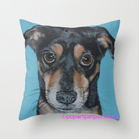 Decorative Blue dog throw pillow cover dog throw pillow cover 16x16 pillow cover  pop art dog throw pillow cover