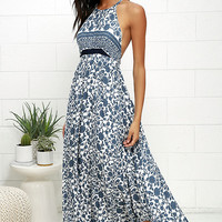 Whirlpool Ivory and Blue Floral Print Maxi Dress