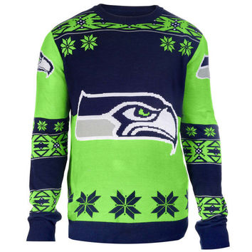 Seattle Seahawks NFL Klew College Navy Big Logo Ugly Sweater