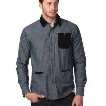 Under Two Flags Chambray Shirt - Indigo