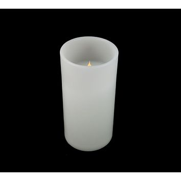 """10"""" White Battery Operated Flameless LED Lighted 3-Wick Flickering Wax Christmas Pillar Candle"""