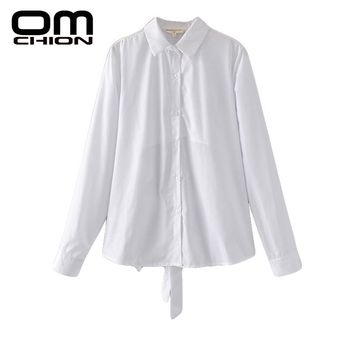 Summer Blusas Femininas New Fashion Back Bow Long Sleeve Sexy Blouses Solid Spliced Shirts Women
