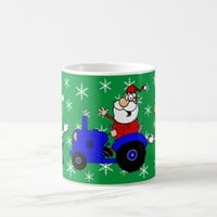 Country Christmas Santa On Tractor And Cows Coffee Mug