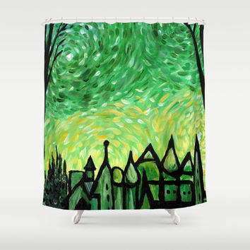 Green Shower Curtain -  The Emerald City Fine Art Shower ,  Emerald Isle bathroom, bold impressionist painting dots, modern  decor