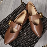 Womens handmade Leather Pointed Toe Nude Shoes Buckle Decorate Flats
