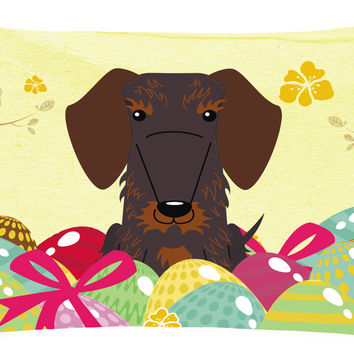 Easter Eggs Wire Haired Dachshund Chocolate Canvas Fabric Decorative Pillow BB6129PW1216