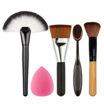 LMFONHC 5 PCS/Set Makeup Powder Blush Foundation Brush+Sponge Puff+Large Fan Contour Brush Make Up Brushes Tool Cosmetics Kits