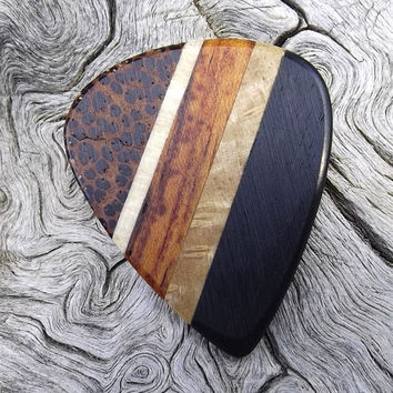 Handmade Multi-Wood Premium Guitar Pick - Actual Pick Shown - Artisan Guitar Pick - 5 Different Woods - No Stock Photos